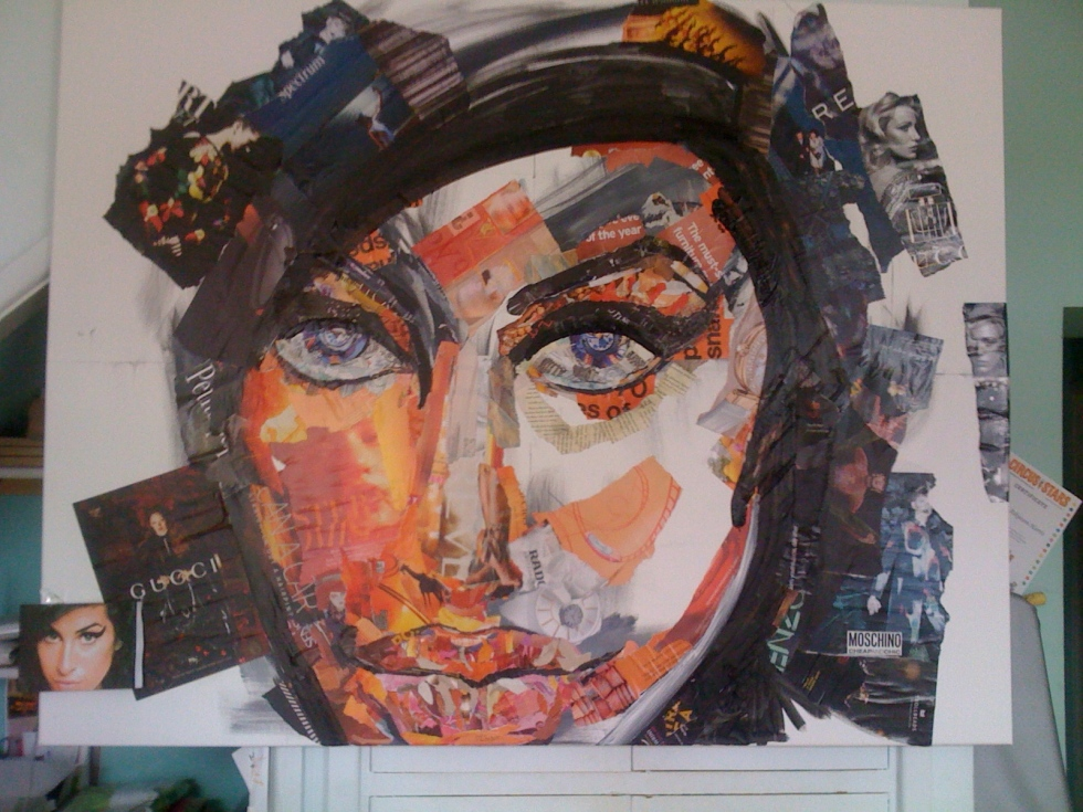 "Work in Progress (Collage 44 ""h x 56 ""w, 112cm x 142cm)"